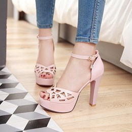 Shoespie Cutout Platform Heel Sandals