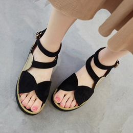 Shoespie Buttoned Hidden Wedge Flat Sandals