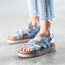 Shoespie Denim Strappy Platform Sandals