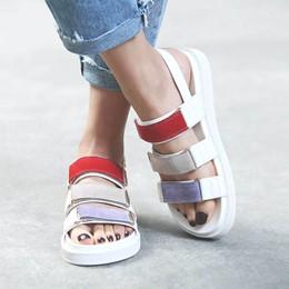 Shoespie Multi Color Velcro Platform Sandals