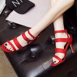 Shoespie Buckles Stiletto Heel Dress Sandals