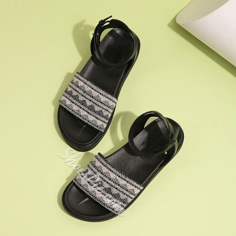Shoespie Ankle Strappy Folky Patterns Flat Sandals