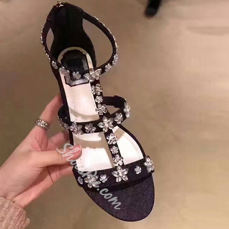 Shoespie Crystal Flowers Decorated Flat Sandals