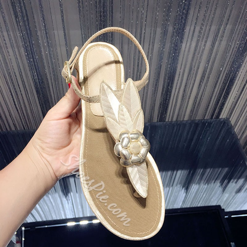 Shoespie Camellia Thong Flat Sandals