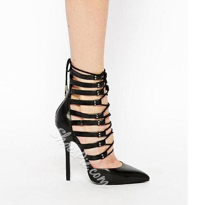 Shoespie Pointed-toe Hit Color Cutout Stiletto Heels