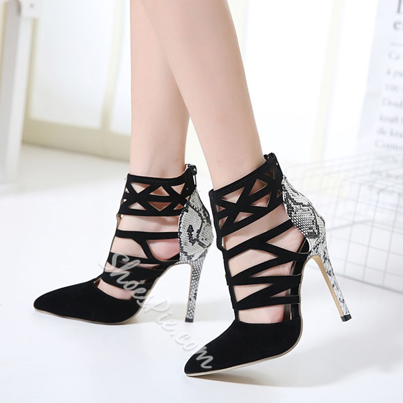 Shoespie Waterproof Pointed-toe Cutout Back Zipper