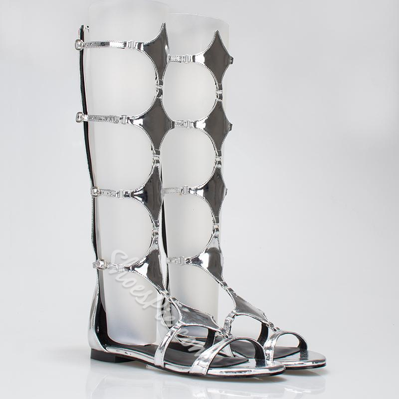 Shoespie Shiny Back Zipper Flat Sandals