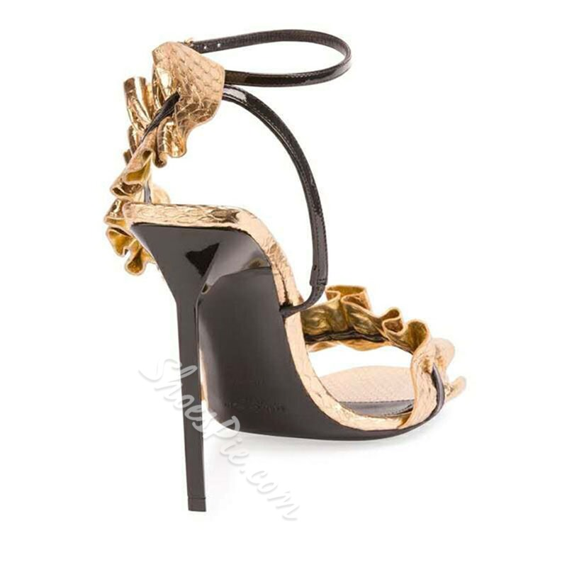 Shoespie Frills Strappy Dress Sandals