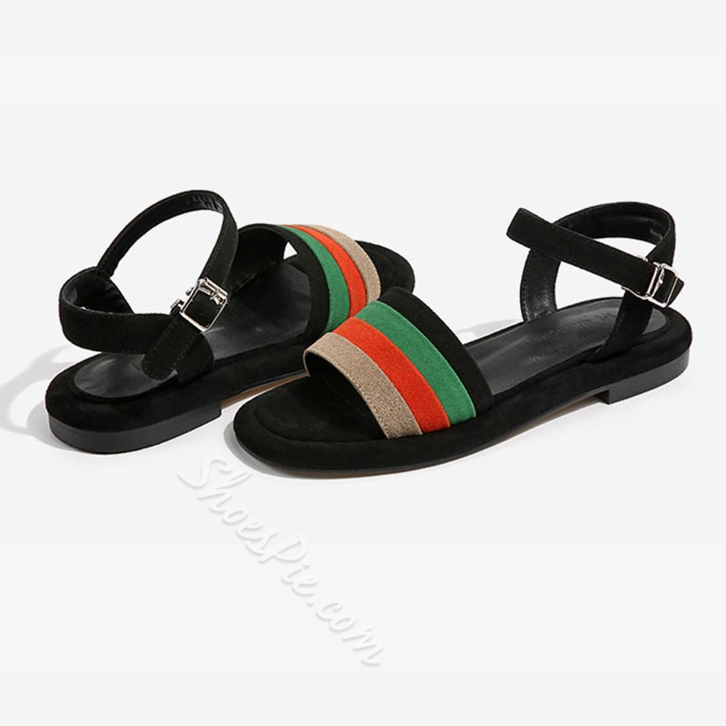 Shoespie Muti Color Stripes Flat Sandals