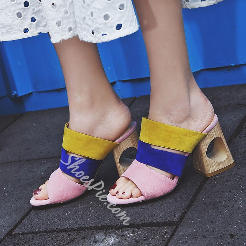 Shoespie Colorful Wide Straps Hollow Block Heel Mules