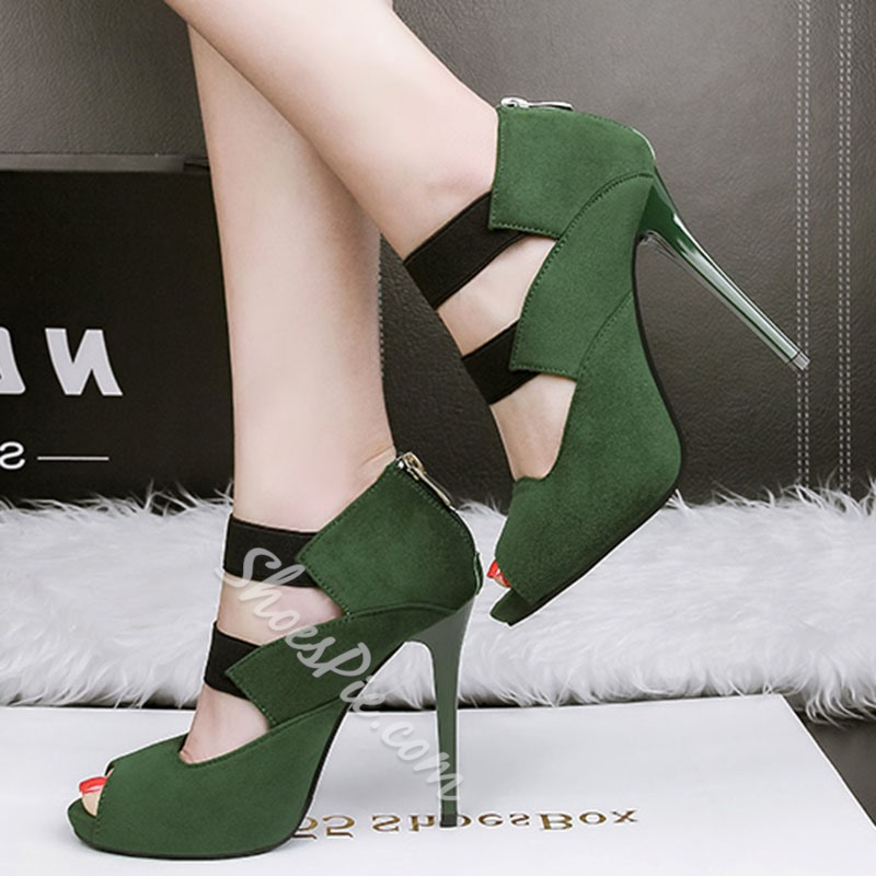 Shoespie Peep-toe Back Zipper Stiletto Heels