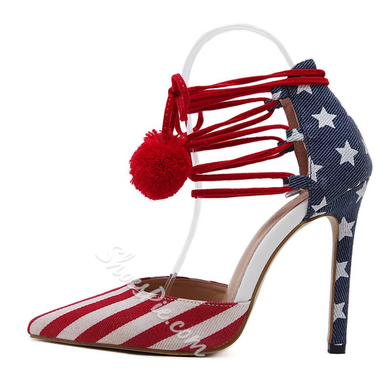 Shoespie Flag Fling Pointed-toe Stiletto Heels