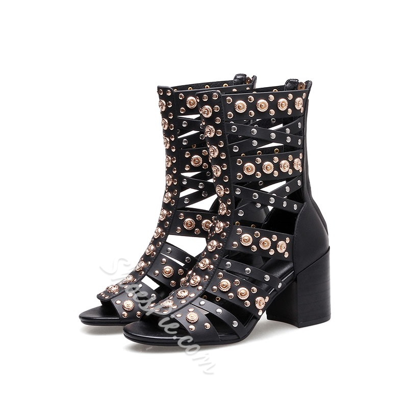 Shoespie Metalic Cutout Gladiator Sandals Summer Booties