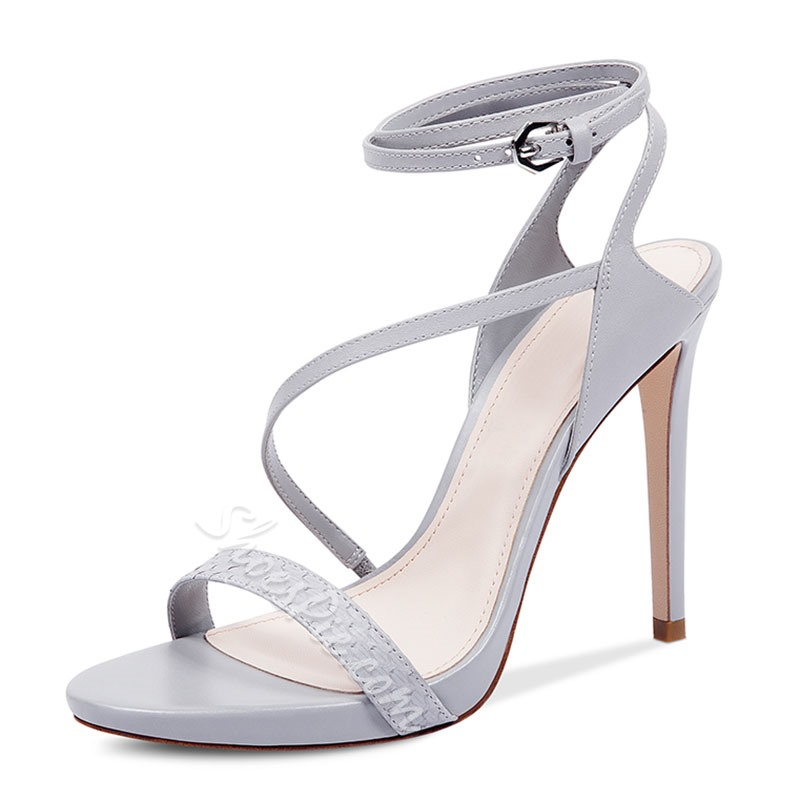 Shoespie Ribbon Metal Buckles Dress Sandals