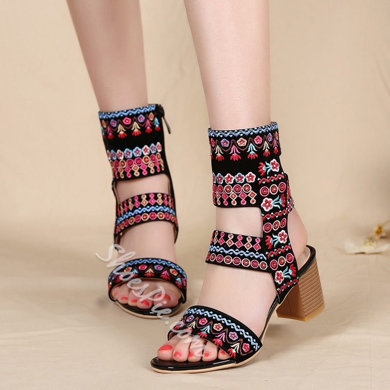 Shoespie Embroidery Floral Ankle Strap Chunky Heels Gladiator Sandals