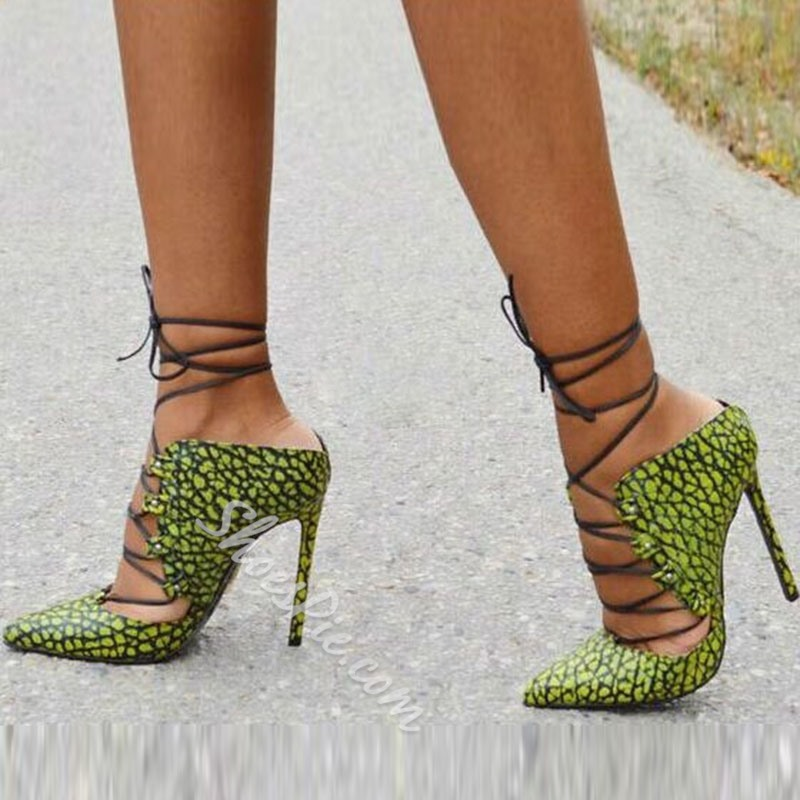 47313ca4726 Shoespie Leopard Print Cross Strap Pointed-toe Stiletto Heels