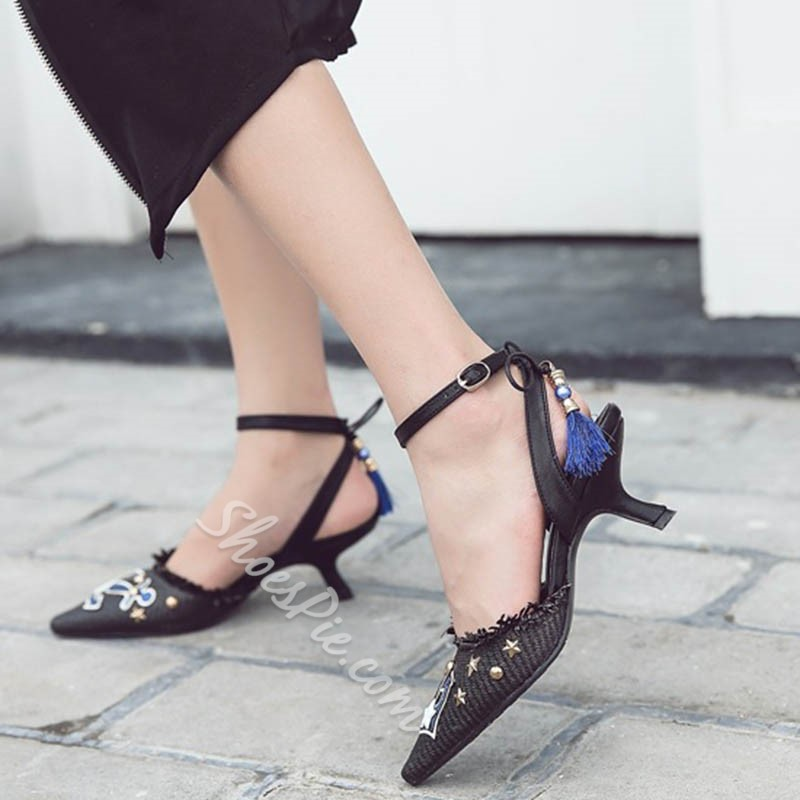 Shoespie Pointed Toe Embellishment and Tassels Kitten Heel Sandals