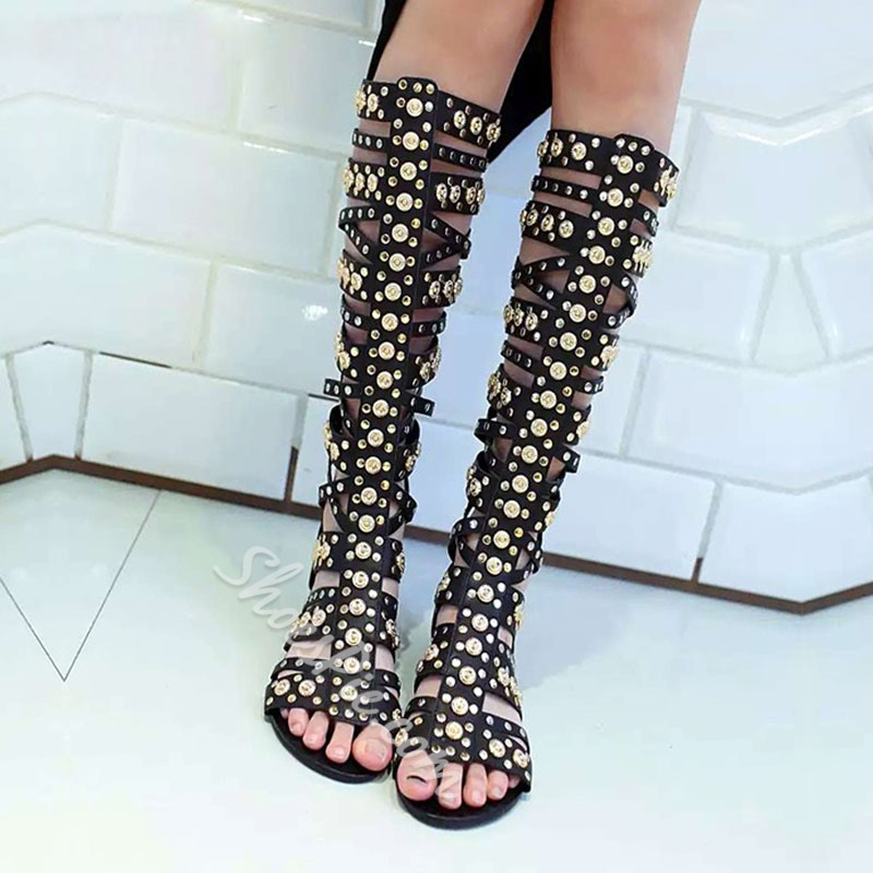 Shoespie Black Rivets Cutout Flat Sandals