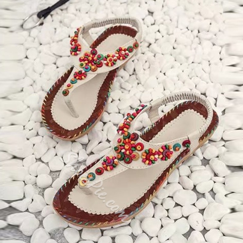 Shoespie Colorful Beads Flat Sandals