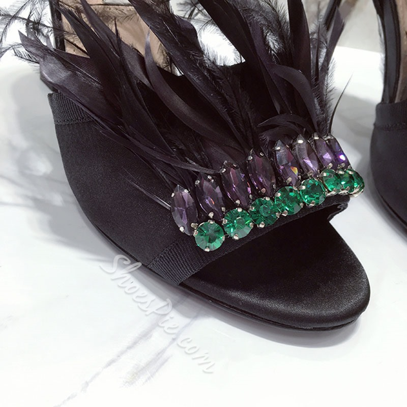 Shoespie Ankle Strap Buckles Dress Sandals Decorated with Feather and Rhinestones