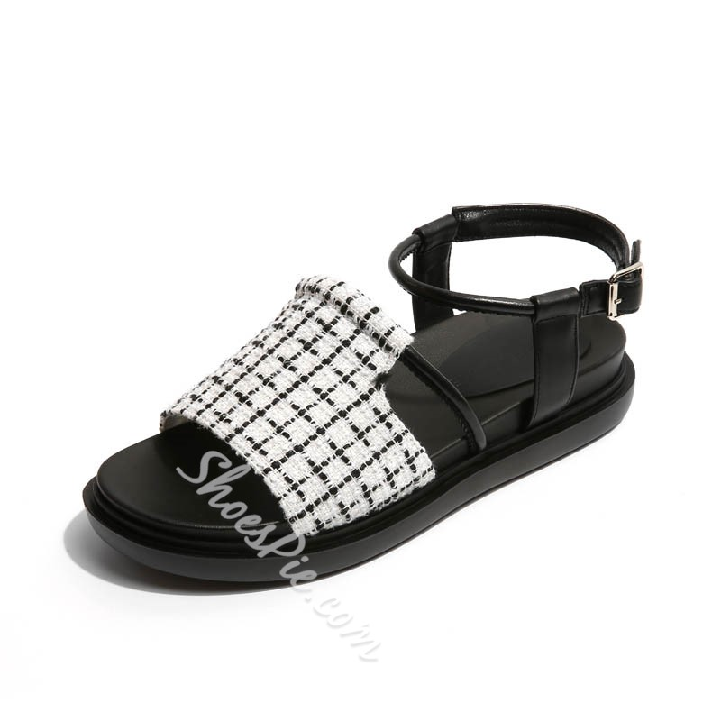 Shoespie Checker Pattern Gladiator Sandals