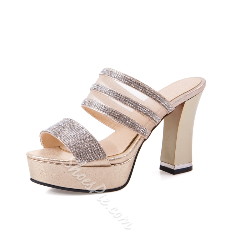 Shoespie Glitter Chunky Heel Mules