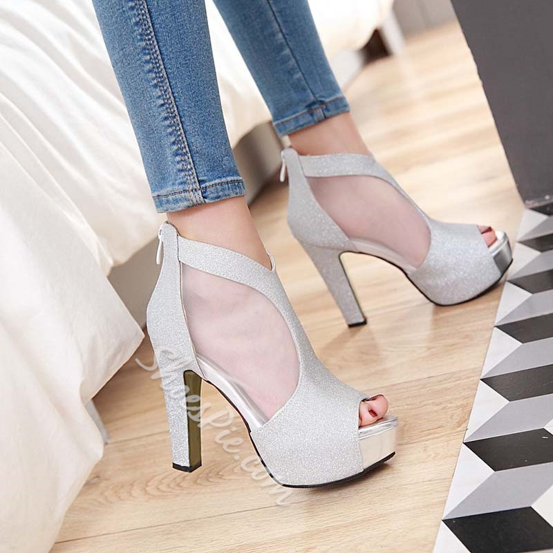 Shoespie Peep-toe Back Zipper Platform Heels