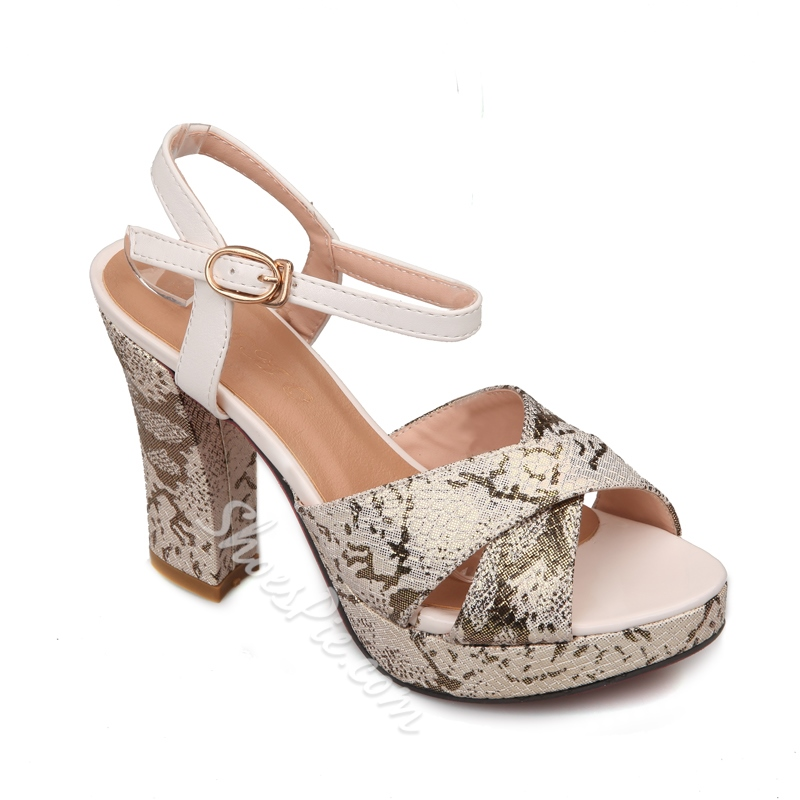 Shoespie Block Color Trim Chunky Heel Sandals
