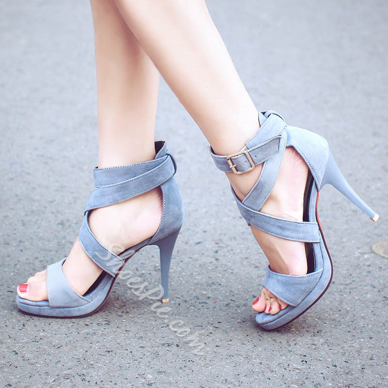 Shoespie Metal Buckles Mesh Dress Sandals