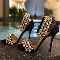 Shoespie Pearls and Rivets Ankle Wrap Dress Sandals