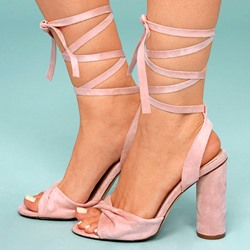 Shoepie Ankle Strap Lace-Up Chunky Heel Sandals