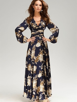 Shoespie Floral V Neck Pullover Women's Maxi Dress