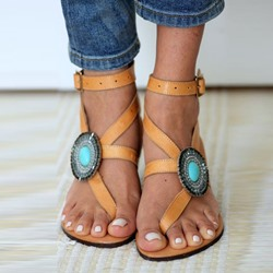 Shoespie Thong Bead Buckle Flat Sandals