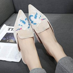 Shoespie Suede Embroidery Animal Mules Shoes Flat Sandals