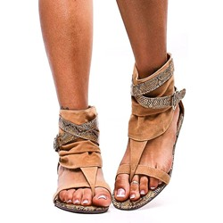 Shoepsie Thong Buckle High-Cut Upper Flat Sandals