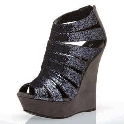 Shoespie Glitter Strappy Wedge Sandals