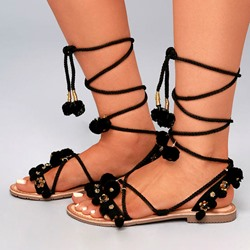 Shoespie Pompons Sequins Appliques Lace-Up Flat Sandals