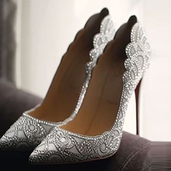 Shoespie Rhinestone Patterned Pointed-toe Stiletto Heels