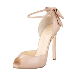 Shoespie Peep Toe Back Bow Ankle Strap Dress Sandals