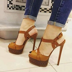 Shoespie Peep-toe Cross Metal Buckles Platform Heels