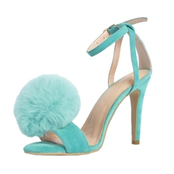 Shoespie Mint Green Big Pompom Decorated Sandals
