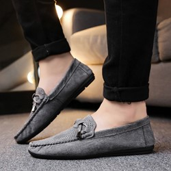 Shoespie Suede Bow Thread Round Toe Men's Loafers