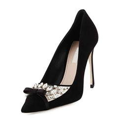 Shoespie Black Luxurious Rhinestone Stiletto Heels