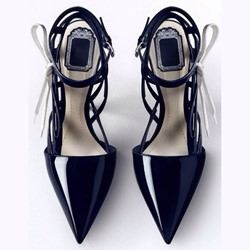 Shoespie Dark Blue Trendy Pointed-toe Low Heels