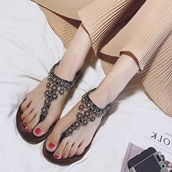 Shoespie Buckle Strappy Thong Flat Sandals