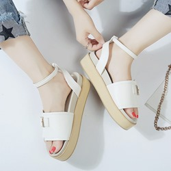 Shoespie Line-Style Buckle Ankle Strap Platform Sandals
