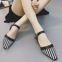 Shoespie Stripe Ankle Strap Line-Style Buckle Block Heel Flat Sandals