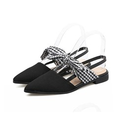 Shoespie Bow Suede Slingback Strap Slip-On Block Heel Sandals