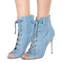 Shoespie Summer Cowboy Toed Lace-up Ankle Boots
