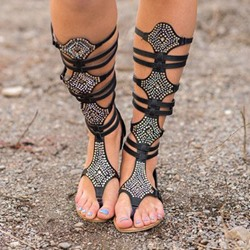 Shoespie Embellished Strappy Thong Gladiator Sandals